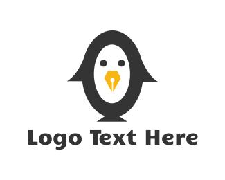 Penguin - Writer Penguin  logo design