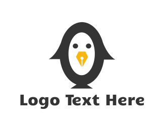 School - Writer Penguin  logo design