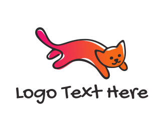 Jumping - Cat logo design