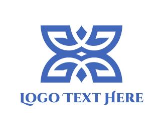 Emblem - Blue Floral Emblem logo design