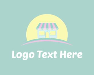 Ice Cream - Cute Store & Sun logo design