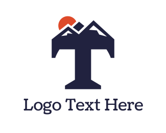 Traveling - Abstract Mountain T logo design