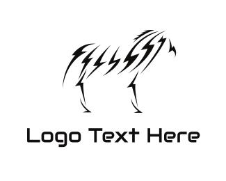 Equestrian - Lightning Zebra logo design