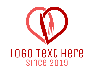 Knife - Cutlery Heart logo design