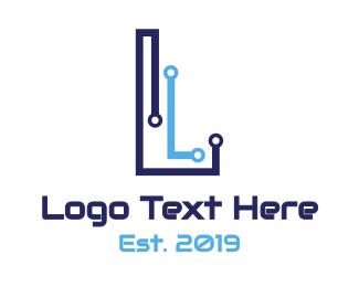 Motherboard - Blue Circuit L logo design