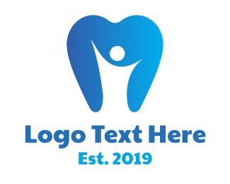 Oral Care - Blue Dental Person logo design