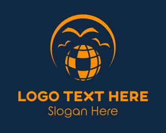 Library - Globe & Birds logo design