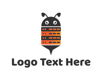 Black And Orange - Bee Robot logo design