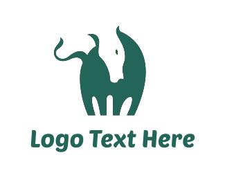 Cow - Green Horse logo design