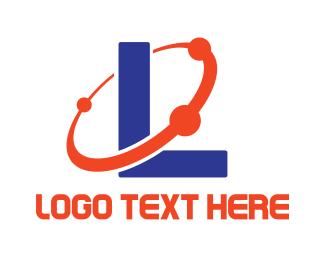 Galaxy - Blue L Planet logo design