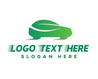 Sedan - Green Leaf Car logo design