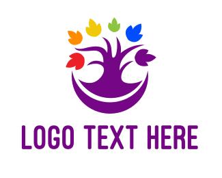 Lgbt - Colorful Purple Tree logo design