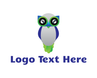 Binocular - Owl Robot logo design