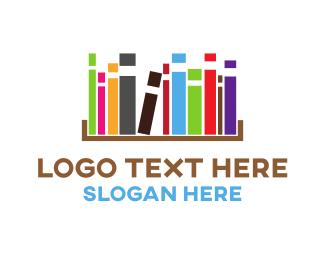 Educate - Colorful Bookcase logo design