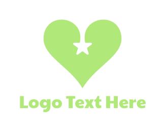 Romantic - Green Star Heart logo design