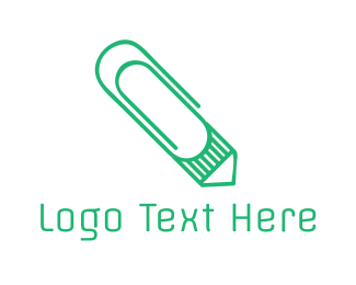 Pencil - Mint Clip Pencil logo design