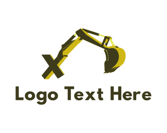 Machine - Excavator Letter X logo design