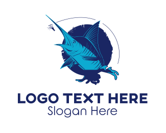 Fish - Marlin Fish logo design