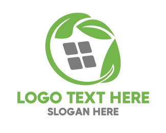 Home Decor - Green Leaves & Squares logo design