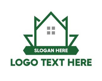 Weed - Green Leaf House logo design