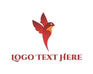 Sparrow - Flying Cardinal logo design