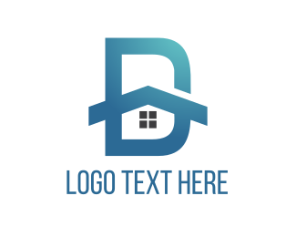 Drywall - House Letter D logo design