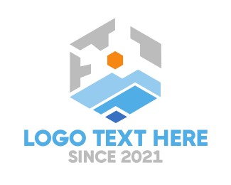 Everest - Geometric Mountain View logo design