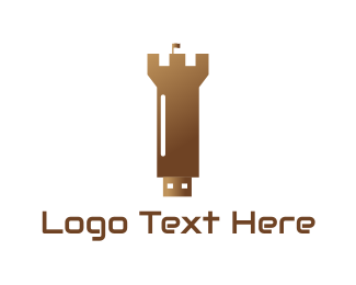 Usb - Security Drive Tower logo design