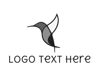 Black And Gray - Black Hummingbird logo design