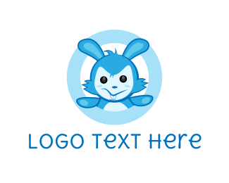 Stuffed Animal - Blue Rabbit logo design