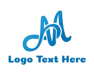 Script - Blue Infinity M logo design