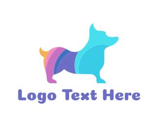 Dog Sitting - Colorful Corgi logo design