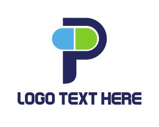 Pharmacist - Little Capsule P logo design