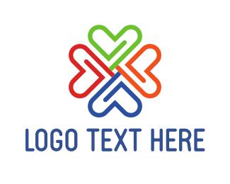 Valentine - Clip Flower logo design
