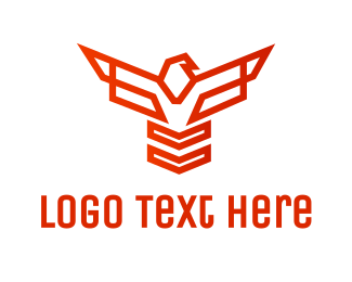Defense - Geometric Hawk Outline logo design