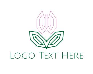 Tulip - Digital Pink Tulip logo design