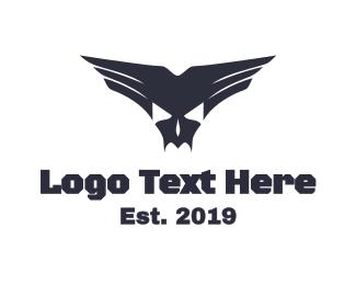 Vampire - Skull Fang Wings logo design