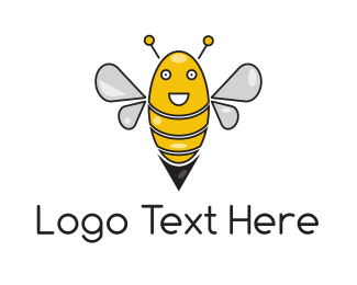 Honeybee - Happy Bee logo design