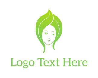 Green Leaf Woman Logo