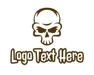 Crypt - Aged Skull Head logo design