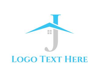 Window - Roof Letter J logo design