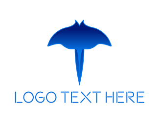 Ray - Blue Stingray logo design