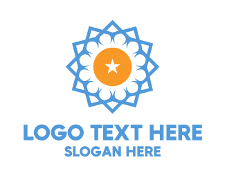 Star - Blue Star Flower logo design