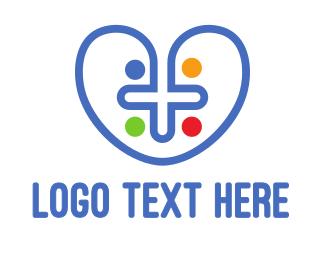 Pendant - Colorful Cross Heart logo design