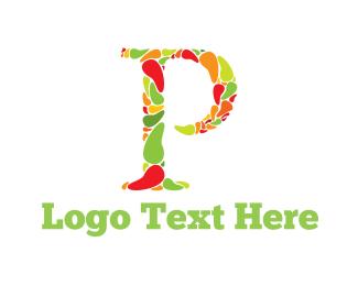 Veggie - Pepper Letter P logo design