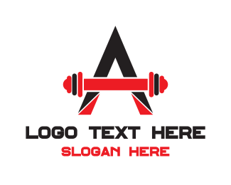 Typography - Abstract A Barbell  logo design