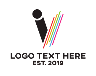 Paint - Colorful Monogram V logo design