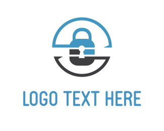 Safety - Security Lock Circle logo design
