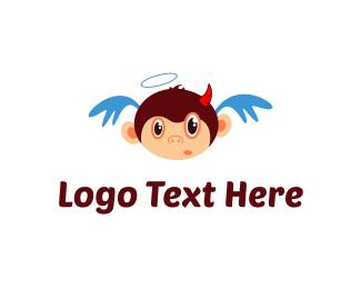 Halo - Angel & Devil Monkey logo design