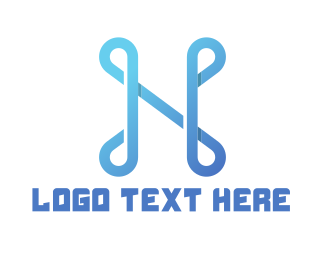 Text - Abstract Blue Letter N logo design